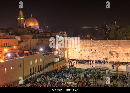 Night view of Temple Mount in Jerusalem Old City, Israel. - Stock Photo