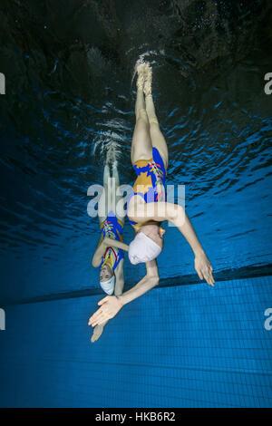 Nikolaev, Ukraine. 14th Jan, 2017. Underwater view of Synchronized Swimming, Nikolaev, Ukraine, Eastern Europe Credit: - Stock Photo