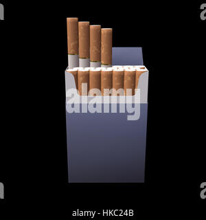 3d illustration of cigarette package on black - Stock Photo
