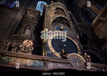 Astronomical clock in the Strasbourg Cathedral (Cathedrale Notre-Dame de Strasbourg) in Strasbourg, Alsace, France. - Stock Photo