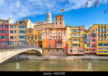 Girona, Spain - colorful houses in the old town - Stock Photo