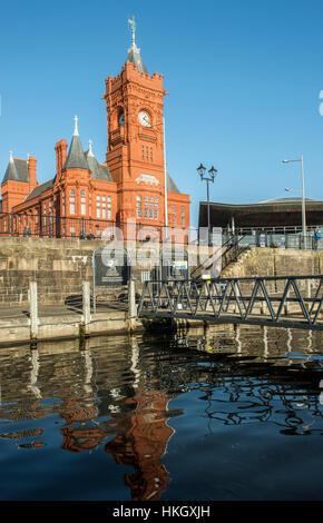 Cardiff Bay Pierhead Building Cardiff south Wales - Stock Photo