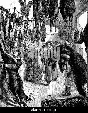 1879: Preparing fur skins or pelts for holiday banquets in  Washington Market. Started in 1812 it operated on the - Stock Photo