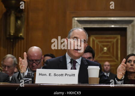 Oklahoma Attorney General Scott Pruitt testifies at his confirmation hearing at the Senate EPA committee - Stock Photo