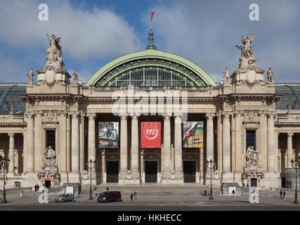Grand Palais designed in Beaux-Arts style in Avenue des Champs-Elysees in Paris, France. - Stock Photo