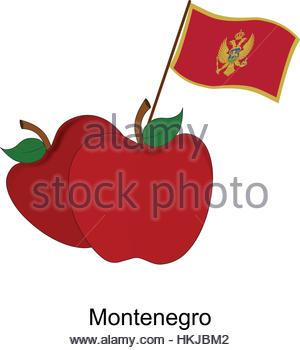 Illustration of Apple, Montenegro Flag, Apple with Montenegro Flag - Stock Photo