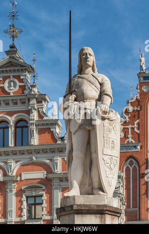 The Roland statue is located on the market square of Riga, Latvia, Baltic States, Europe - Stock Photo