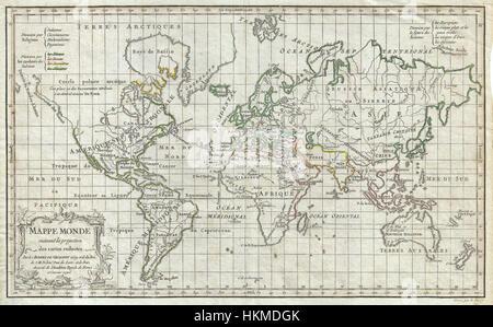 1784 Vaugondy Map of the World on Mercator Projection - Geographicus - World-vaugondy-1784 - Stock Photo