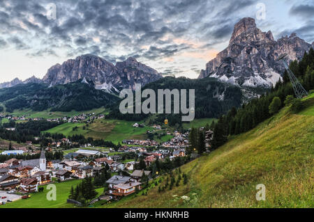 Corvara village and Badia Valley in summer Alto Adige, Italy - Stock Photo