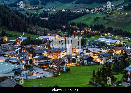 night scene of Corvara village in Badia Valley, Alto Adige, Italy - Stock Photo