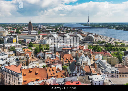 View over Riga, to the television tower, the Daugava River (Western Dvina) and to the Academy of Sciences, Latvia, - Stock Photo