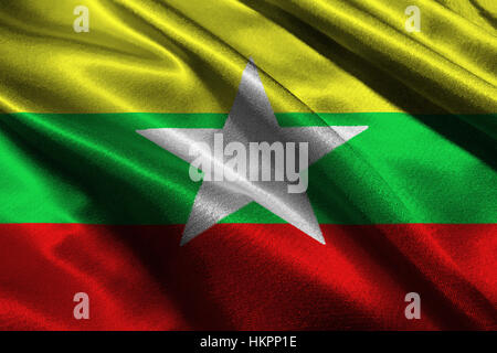 Myanmar flag ,3D Myanmar national flag 3D illustration symbol, Burma - Stock Photo