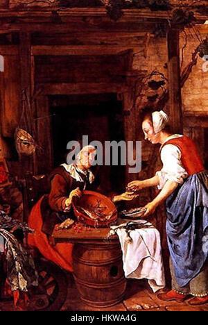 Gabriel-metsu-1629-1667-alte-fischverkaeuferin 1 - Stock Photo