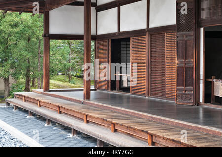 Kyoto, Japan. Detail of Ryogen-in Zen Buddhist temple, part of the Daitoku-ji temple complex - Stock Photo