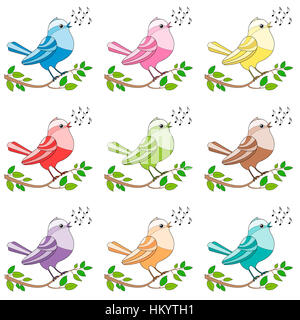 Songbirds - nine colorful twittering and chirping and singing birds. - Stock Photo