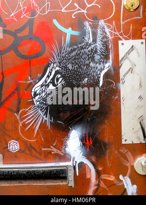Street art by C215, Christian Guemy. Cat stencil on a red door in Shoreditch, London. - Stock Photo