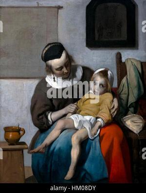 The Sick Child, by Gabriel Metsu, 1663, oil on canvas, Rijksmuseum, Amsterdam, Netherlands, Europe, - Stock Photo