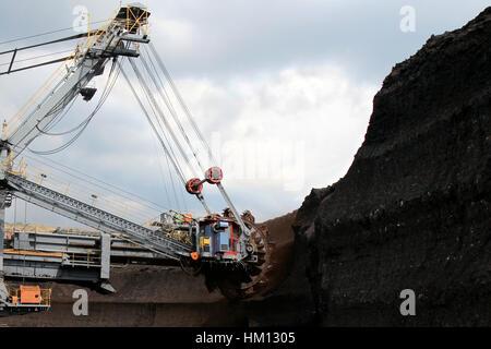 brown coal huge excavator machine - Stock Photo