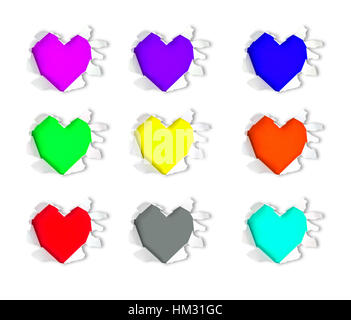 Colorful heart shape hole through  paper - Stock Photo