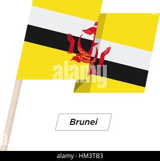 Brunei Ribbon Waving Flag Isolated on White. Vector Illustration. - Stock Photo