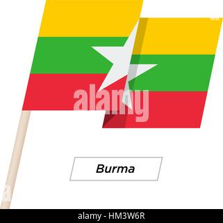 Burma Ribbon Waving Flag Isolated on White. Vector Illustration. - Stock Photo