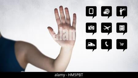 Hand besides digitally generated applications icon - Stock Photo
