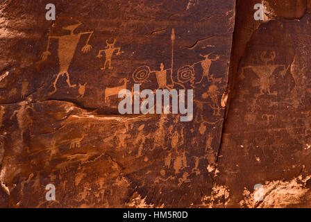 Potash Road Petroglyphs near Moab, Utah, USA - Stock Photo