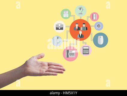 Hand showing digitally generated applications icon interface - Stock Photo