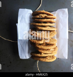 Overhead view of cookies on table - Stock Photo
