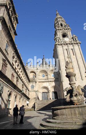 Platerias square and fountain in Santiago de Compostela cathedral Galicia Spain. - Stock Photo
