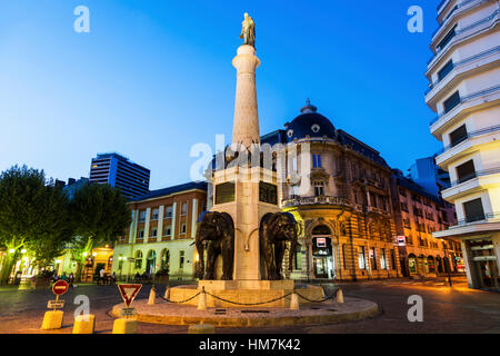France, Auvergne-Rhone-Alpes, Chambery, Monument with statue - Stock Photo