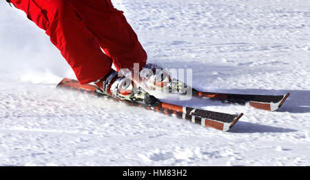 Ski finish in downhill at sun winter day. Close-up view. - Stock Photo