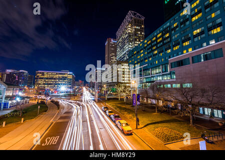 Long exposure of Pratt Street in Baltimore, Maryland - Stock Photo