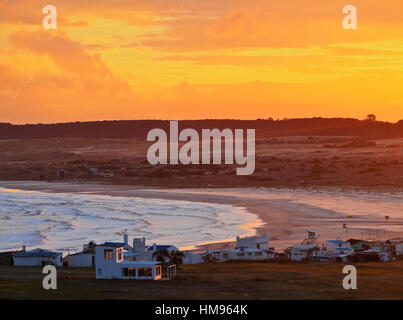 Elevated view of the Cabo Polonio at sunset, Rocha Department, Uruguay, South America - Stock Photo