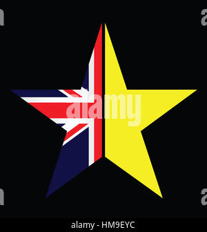 UK and EU split star representing the United Kingdom exit from the European Union - Stock Photo