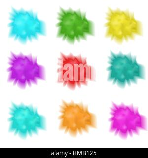 Holly set realistic splashes of paint. Collection  multicolored powder cloud. Isolated on white background. Vector - Stock Photo