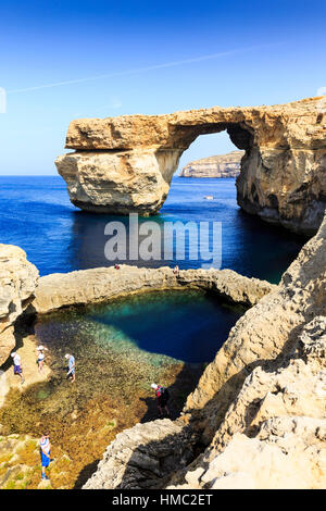 the blue hole and azure window, gozo, malta - Stock Photo