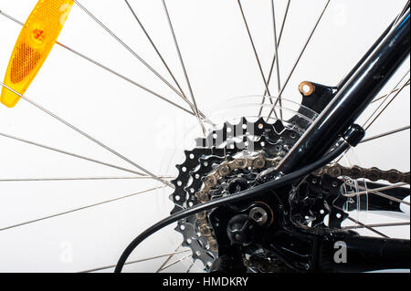 Close-up on a bicycle rear wheel - Stock Photo