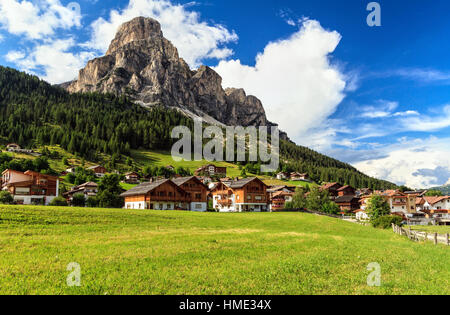 overview of Corvara in Badia town and Sassongher,mount on summer, south Tyrol, Italy - Stock Photo