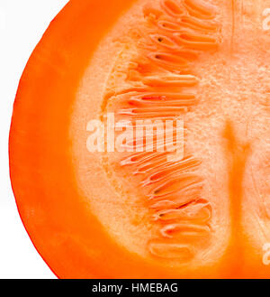 The insides of Red kuri squash - Orange Hokkaido pumpkin isolated on white. Uchiki Kuri Squash, Japanese Squash - Stock Photo