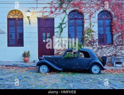 Vintage car on the cobblestone lane of the historic quarter, Colonia del Sacramento, Colonia Department, Uruguay, - Stock Photo