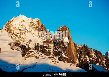 Aiguille Verte, 4122m, and Les Drus, Chamonix, Haute Savoie, Rhone Alpes, French Alps, France - Stock Photo
