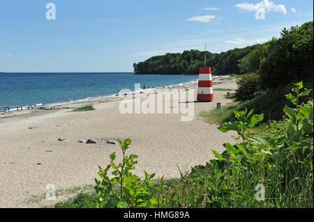 lifeguard cabin on the Moesgaard Beach, Aarhus, Jutland Peninsula, Denmark, Northern Europe. - Stock Photo