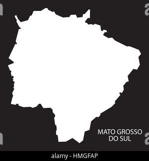 Mato Grosso do sul Brazil Map black inverted silhouette - Stock Photo