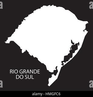 Rio Grande do sul Brazil Map black inverted silhouette - Stock Photo