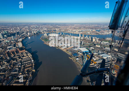London from above, O2 and East London seen from a helicopter - Stock Photo