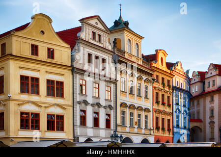 Low Angle View of Colorful Houses on Old Town Square, Prague, Czech Republic - Stock Photo