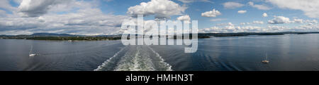 Panorama view on the way out of the Oslofjord - Stock Photo