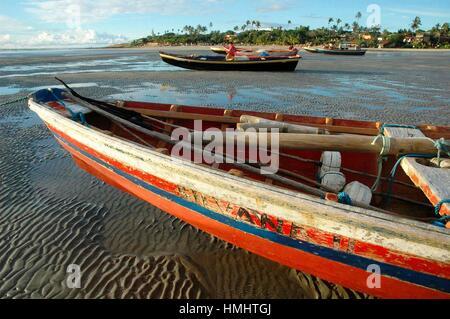 Brazil, Ceara State, Jericoacoara, Fishing Boats along the Seashore. - Stock Photo
