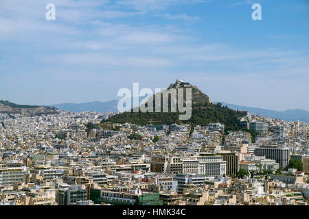 Cityscape with Mount Lycabettus, Athens, Greece - Stock Photo